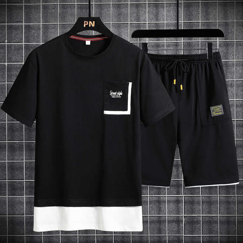 멋진 얼음 실크 빠른 건조 의류 새로운 2pc Tracksuit 짧은 운동복 + 반바지 세트 비치 망 캐주얼 셔츠 Sportswears