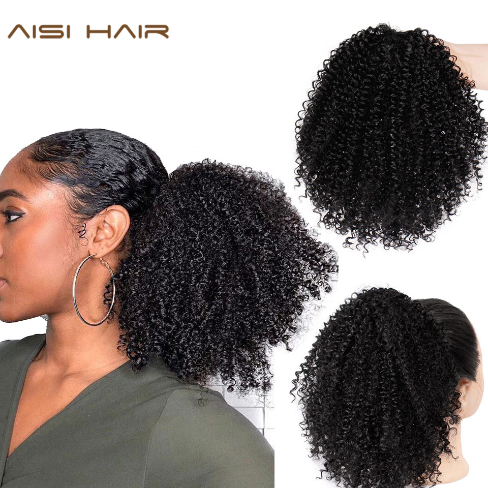 Drawstring Puff Afro Kinky Curly Ponytail African American Short Wrap Synthetic Clip In Ponytail Hair Extensions AISI HAIR