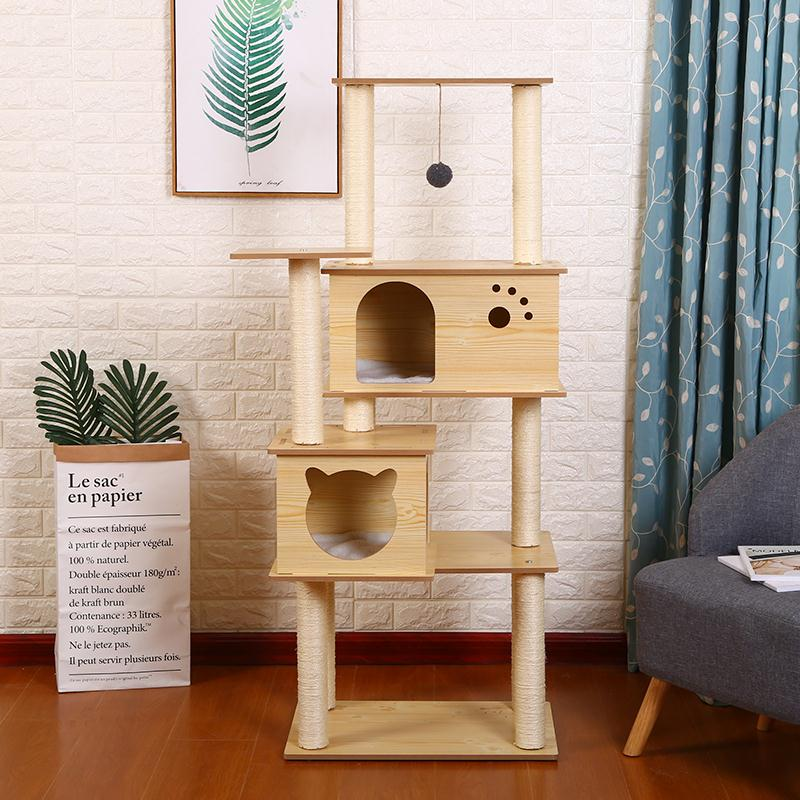 Luxury <font><b>Large</b></font> <font><b>Cat</b></font> Climbing Frame <font><b>Tree</b></font> Jumping Scratching Board Litter Sisal Toy image