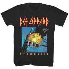 Mens Def Leppard Pyromania Full Color Graphic Print Band T Shirt, Black Streetwear Tees