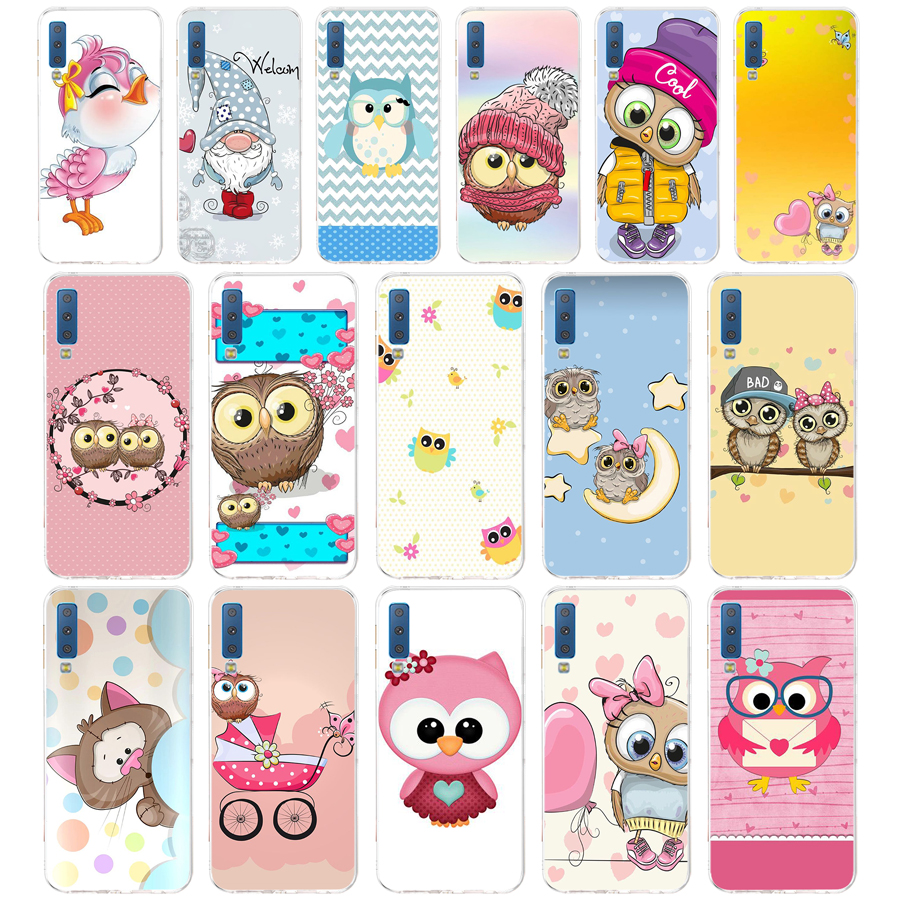 46AA Luxury fashion cute starry owl gift <font><b>Soft</b></font> Silicone Tpu Cover phone <font><b>Case</b></font> for <font><b>Samsung</b></font> Galaxy A6 Plus 2018 A7 2018 A9 star Lite image