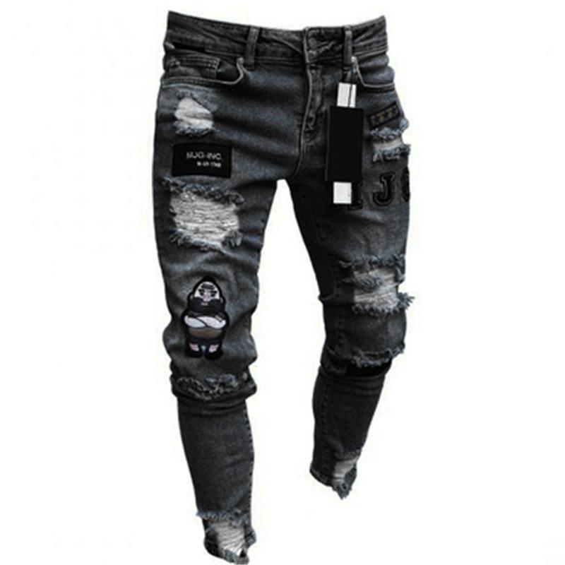 Elastis Robek Skinny Biker Bordir Cetak Pria Jeans Menghancurkan Lubang Direkam Slim Fit Denim Tergores Kualitas Tinggi Jean Jeans Aliexpress