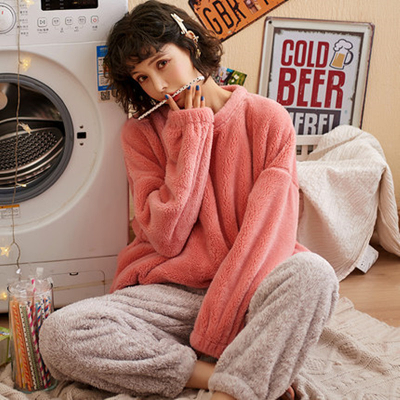 Coral velvet pajamas in autumn and winter women's winter thickened velvet household clothes women's winter flannel warm suit