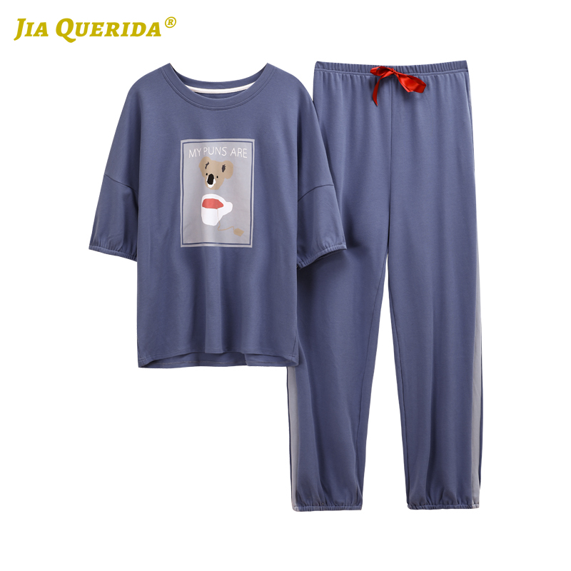 2020 New Pajamas For Women Sleepwear Homesuit Homeclothes Short Sleeve Long Pants Cartoon Printing Crew Neck Pj Set Pajamas Set