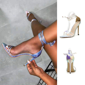 2019 Classics Fashion Summer Sandals Women Ankle Strap Peep Toe Super High Ladies Shoes Pointed bandage - discount item  49% OFF Women's Shoes