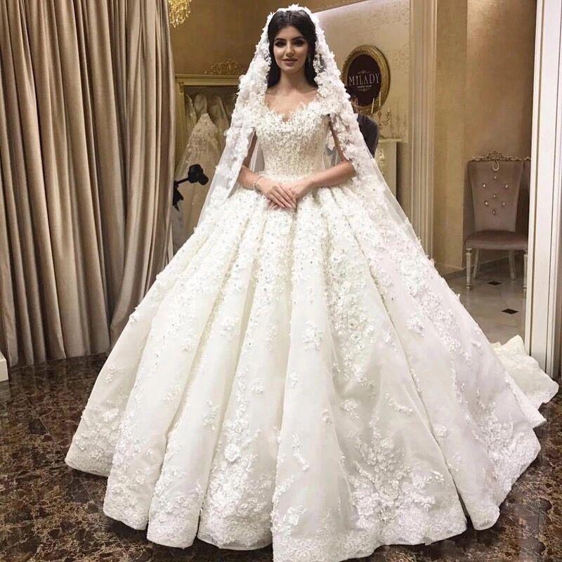 Robe de bal chérie moelleux grand Train Tulle dentelle fleurs Appliques perlées luxe robes de mariée formelles robes de mariée SV02