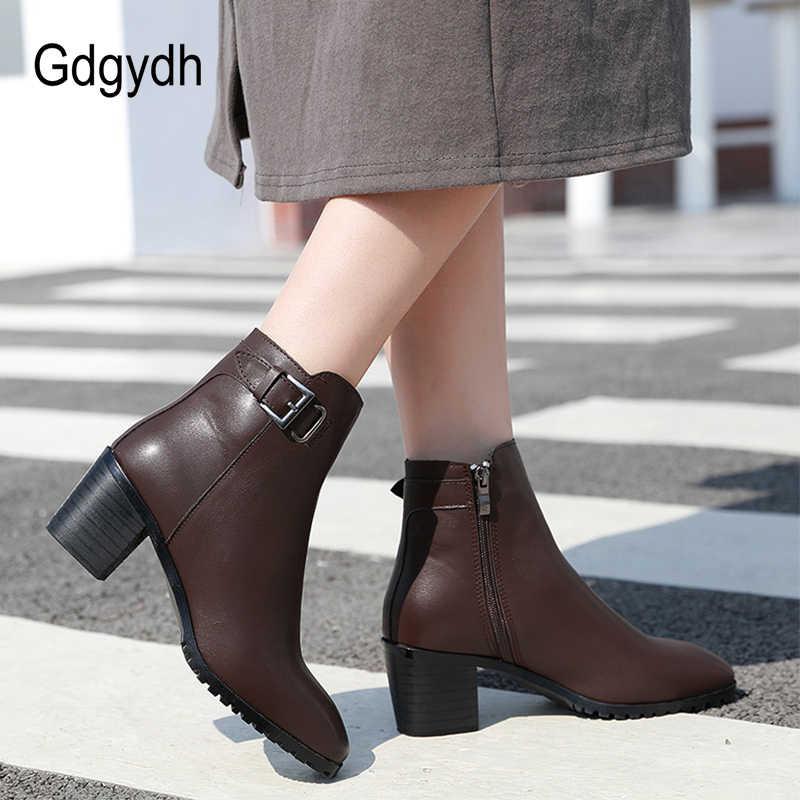 Gdgydh kısa çizmeler topuklu kadın siyah deri seksi toka kalın topuklu yarım çizmeler ile fermuar kauçuk taban rahat ayakkabılar yeni