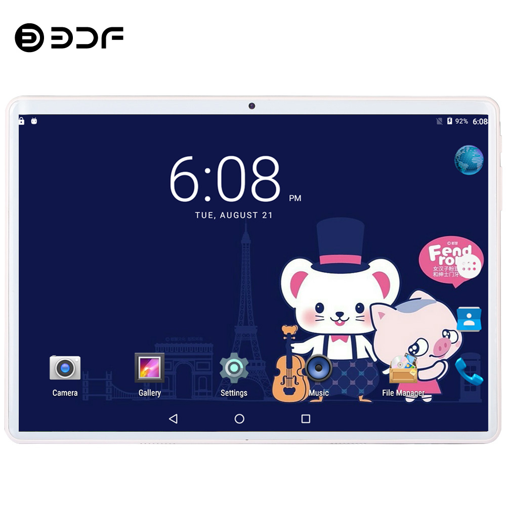 BDF New 10 Inch 4G LTE Phone Call SIM Card Ten Core FM WiFi Tablet Pc Android 9.0 WIFI Bluetooth 8GB/128GB IPS LCD Display