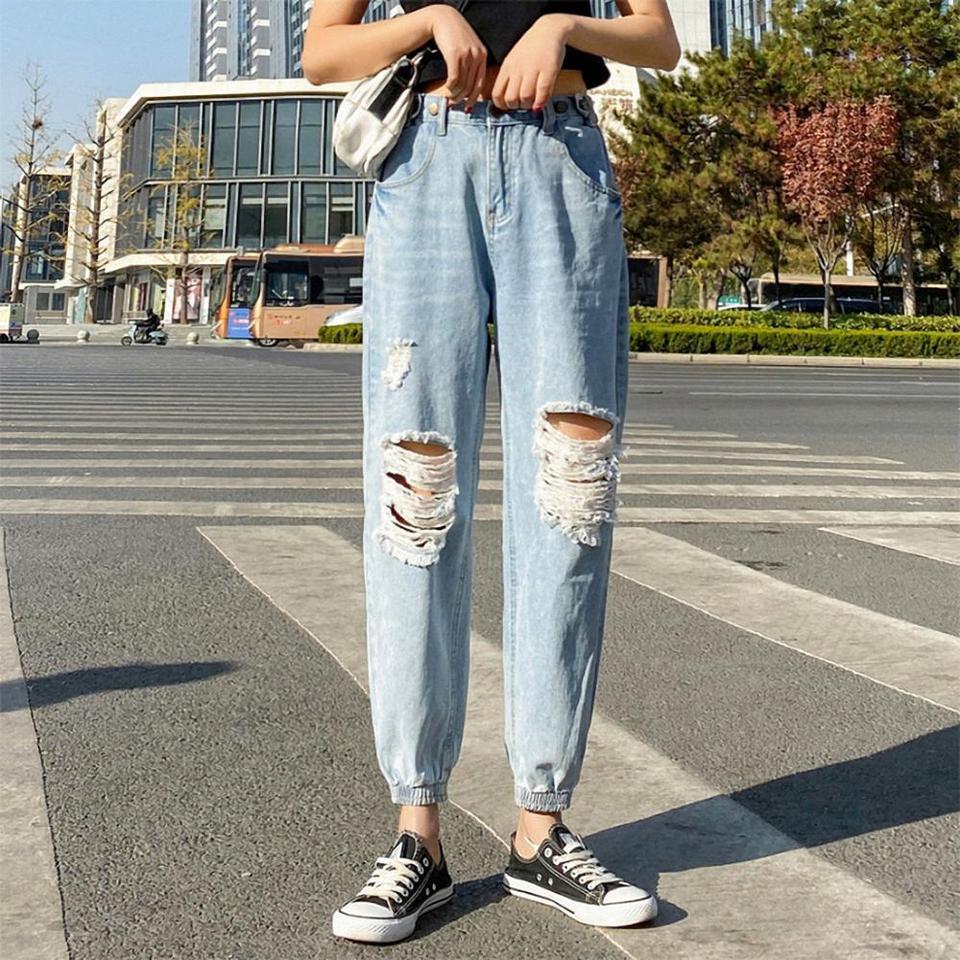 Las Mujeres Pantalones Bombachos Holgados Pantalones De Mezclilla Mujer Agujero Rasgado Con Cintura Alta Crop Vaqueros Tumblr Streetwear Simple De Moda 90s Yong Chica Pantalones Vaqueros Aliexpress