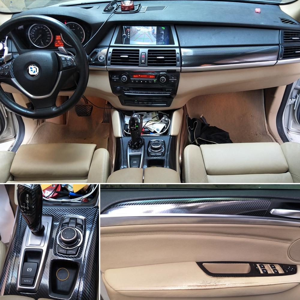 For BMW X5 E70 X6 E71 2007 14 Interior Central Control Panel Door Handle 5D  Carbon Fiber Stickers