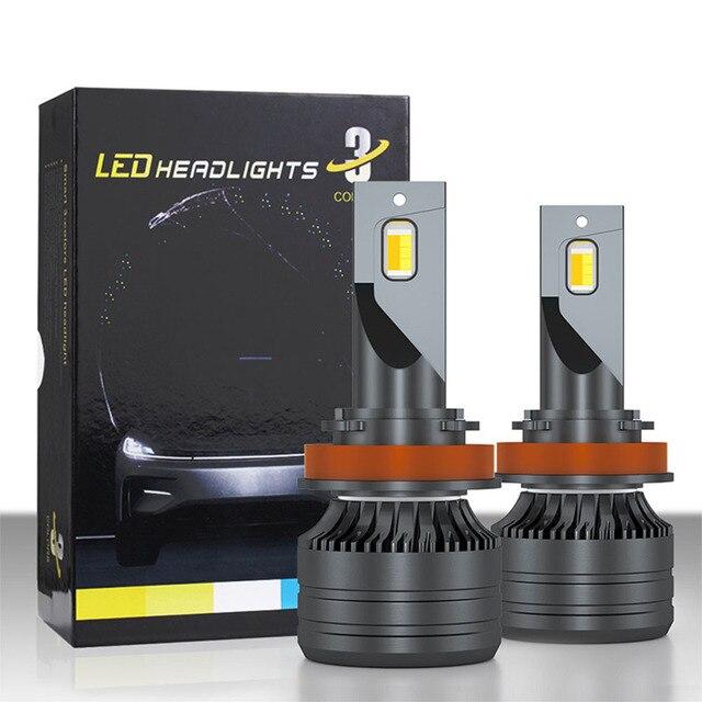 K9 תלת צבע כפול צבע טמפרטורת רכב LED גבוהה ואלומה נמוכה גבוהה בהירות פנס צבע שינוי מנורה h7 H4 led תאורה