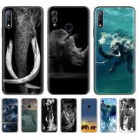 Elefante Rinoceronte di Caso per Huawei Honor 9X Pro 8X Gioco 3 3e 20 10 8C 8A Y6 Y7 Y9 Prime 2019 Nero Del Telefono Del Silicone Coque Casos