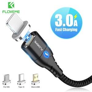 FLOVEME-Cable USB magnético para móvil, Cable de datos de carga rápida para iPhone, Micro USB tipo C, Samsung, Xiaomi, Huawei 3A