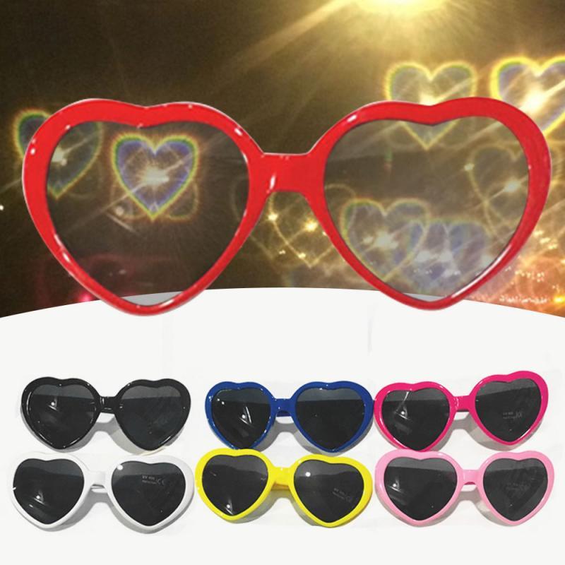 «Любящее сердце» Форма d эффекты очки часы свет изменения к сердцу Форма ночью дифракционные очки Для женщин солнцезащитные очки оптом