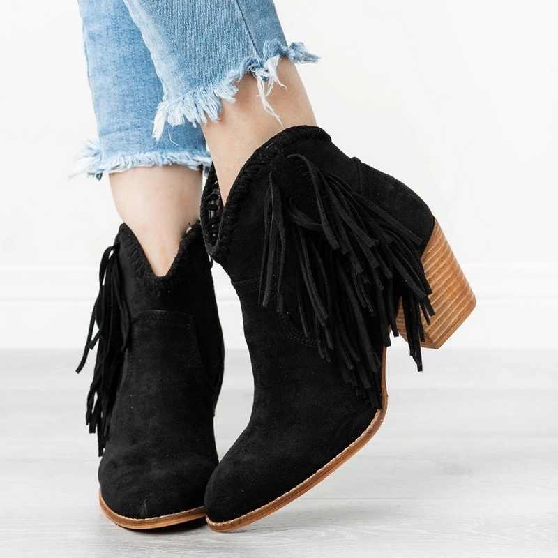 MoneRffi Frauen Stiefel Mit Fransen Spitz Kurze Stiefel Starke ferse Retro Vintage Ankle Booots Frauen Schuhe Solide Quaste Booties 2019