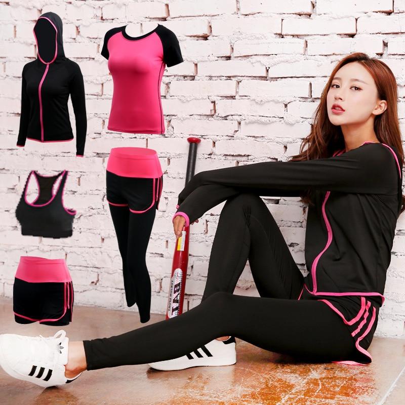 2019 version coréenne de nouveau sport yoga costume femmes taille haute th runng costume fitness quick-dryg clos yoga costume cinq pièces