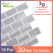 10pcs 3D Wall Sticker Marble mosaic Brick Self-Adhesive Waterproof paper for Kitchen Bathroom Home DIY Decal Stickers