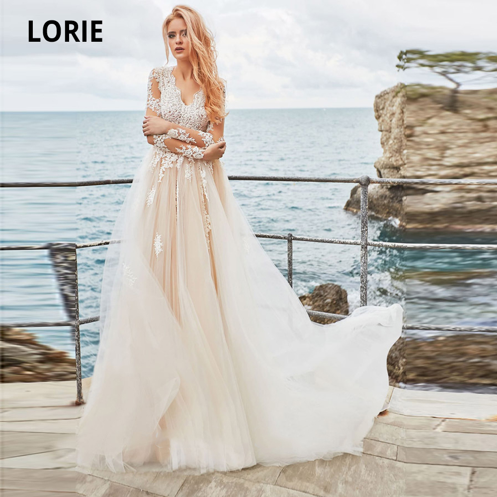 LORIE Champagne Wedding Dresses Lace Long Sleeves Appliques Boho Bridal Gowns Court Train Back Zipper Button Beach Wedding Gowns