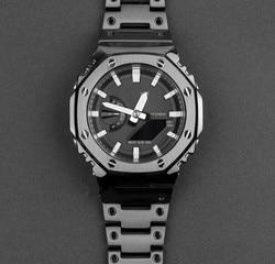 Универсальный GA-2100 восьмиугольный ободок из нержавеющей стали и ремешок для часов черного цвета