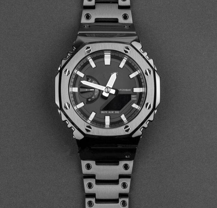 Generic GA-2100 Stainless Steel Octagonal Bezel And Watch Band In Black Color