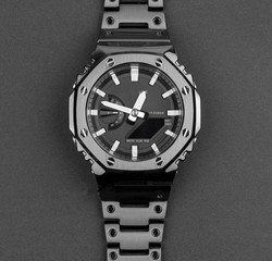 Generisches GA-2100 Edelstahl Achteckige Lünette und Uhr Band in Schwarz Farbe