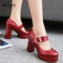 BYQDY Fashion Office Lady Women Mary Jane Shoes Thick Heels Round Toe Buckle Strap Platform Pumps Party Wedding Prom Footwear цены онлайн