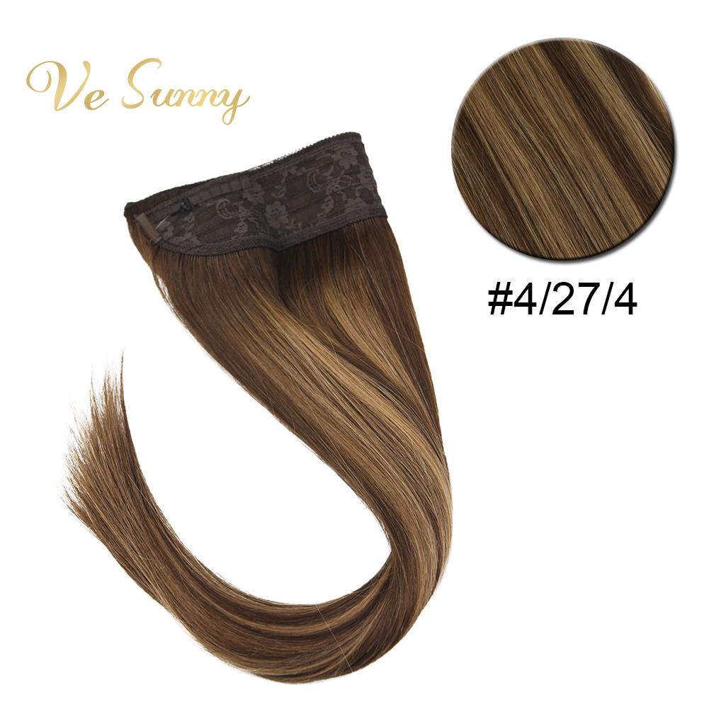 VeSunny Invisible Halo Hair Extensions Fishing Line Human Hair Wire With Clips Balayage Highlights Brown To Caramel #4/27/4