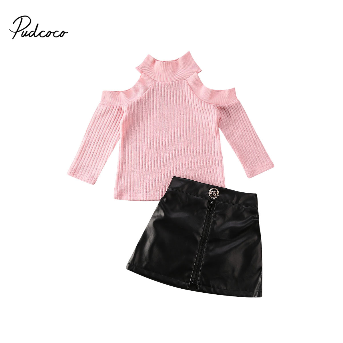 Pudcoco 1-5Y 2020 Fashion Infant Baby Girls Kids Clothes Sets Long Sleeve Knit Off Shoulder Pullover Sweater Tops Skirt Outfit