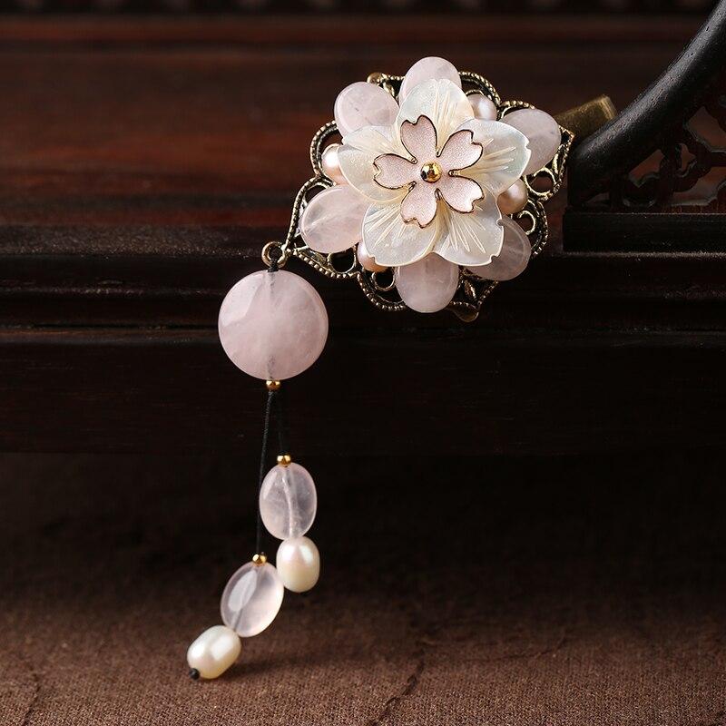 Cristal rose coquillage fleur épingle à cheveux femmes Vintage Barrettes mode pince à cheveux ethnique cheveux accessoires style chinois chapeaux