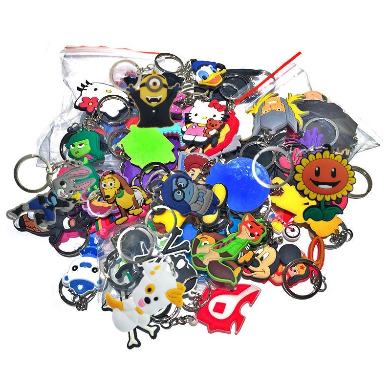 50pcs Random Mixed Cartoon PVC Keychain Organize Cute Anime Key Ring Desk Accessories&Organizer Key Chain Toy Kids Gift
