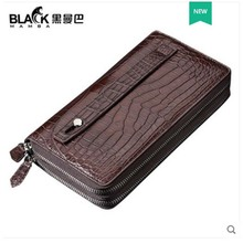 heimanba Thai crocodile skin  Belly double zipper handbag man double capacity hand bag full leather wallet men clutch bag