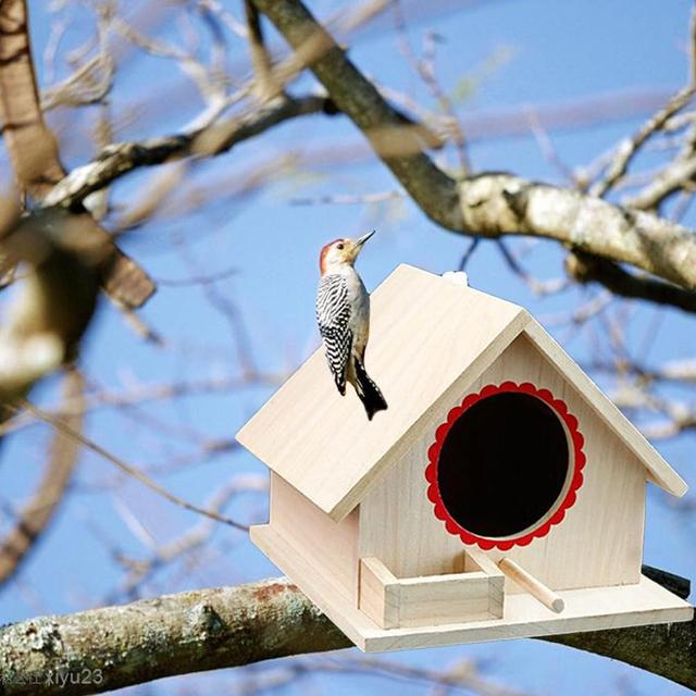 Bird Pet Nest Wooden Birdhouse Small Outdoor Garden Parrot Bird Nest Wooden Bird House Bird Cage Pet Supplies 5