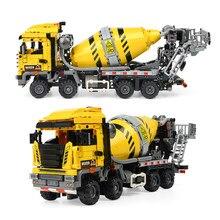 1143 adet şehir çimento karıştırıcı mühendislik yapı taşları teknik araçlar araba rakamlar tuğla DIY oyuncaklar çocuklar için hediyeler