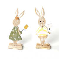 Easter Day Bunny 2PCS Lovely Easter decorations Rabbit Wooden crafts DIY Pendant Party Ornament supplies crative Tabletop 17cm