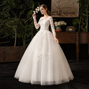 Image 2 - 35% rabat nowa jesienna suknia ślubna z długim rękawem Elelgant królewski tren koronkowy haft księżniczka Vintage Plus Szie suknie ślubne