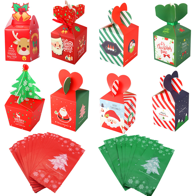 Cyuan Christmas Gift Box Treat Bags Xmas Decoration Candy Box Paper Bag For Kids Birthday Wedding Party Gift Boxes Pack Bags