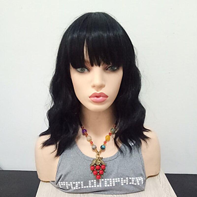 HAIRJOY Women Synthetic Wavy Hair Wig  Medium Length Black 1B Color Heat Resistant Fiber With Bangs