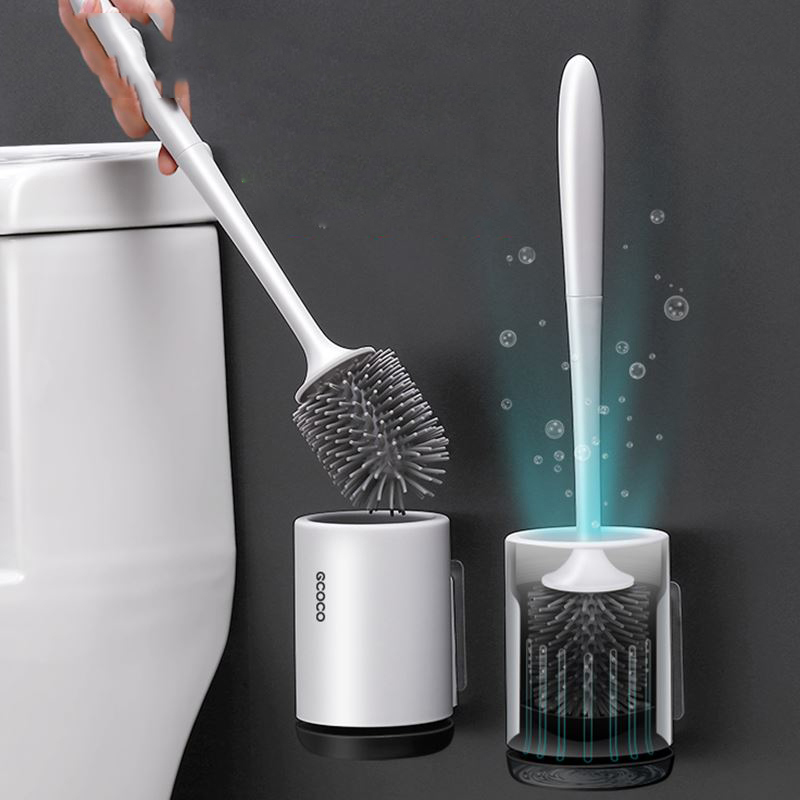 Silicone Toilet Brush Soft Bristle Wall-mounted Bathroom Toilet Brush Holder Set Clean Tool Durable ThermoPlastic Rubber(China)