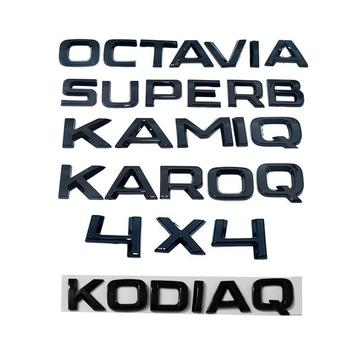 Czarne Logo tabliczka znamionowa naklejka naklejka na bagażnik dla SKODA KODIAQ KAMIQ KAROQ OCTAVIA SUPERB YETI FABIA RAPID 4X4 Skoda naklejka tanie i dobre opinie YANF CN (pochodzenie) Marka akcesoriów do samochodów Inne naklejki 3d 1inch 0 9inch 6 7inch Emblems Words Nadwozie samochodu
