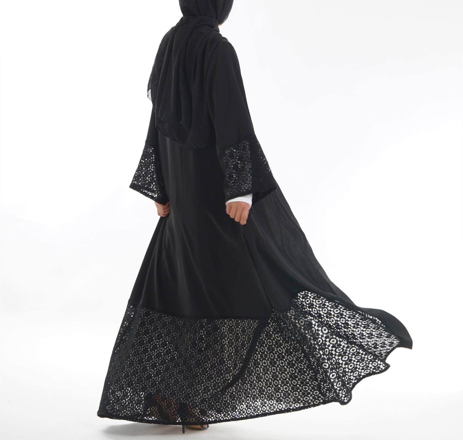 Suit hijab Dress Hollow Out Full Cotton Lace Black Nida Woman Robe femme Robe abaya turkey bangladesh kaftan dubai vestido image