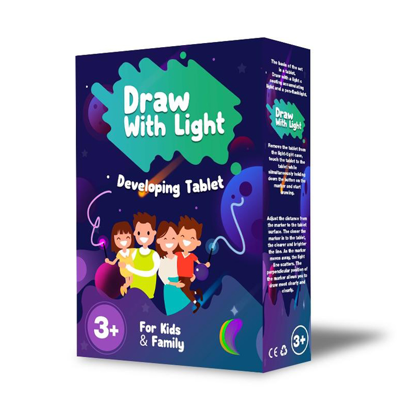 Draw With Light Tablet A4 (2 In 1) Funny Children Diy Paint Toy English Language New Version (2 Board+4 Pens)) AT04