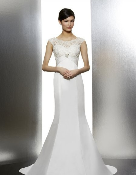 Free Shipping Corded Lace Cap Sleeves Mermaid Neckline Deep V-back Beaded Medallion Bridal Gown Mother Of The Bride Dresses