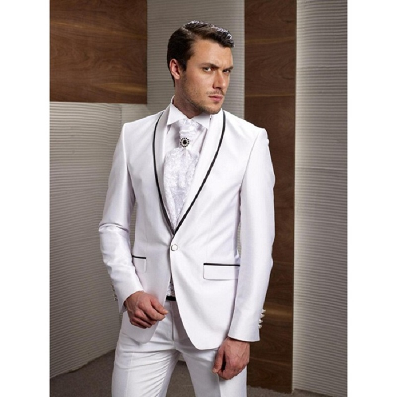 New Arrival White Formal Wedding Tuxedos Black Strips Shawl Lapel Tailor Made Groom Grooms Wedding Suit One Button (Jacket+Pant)