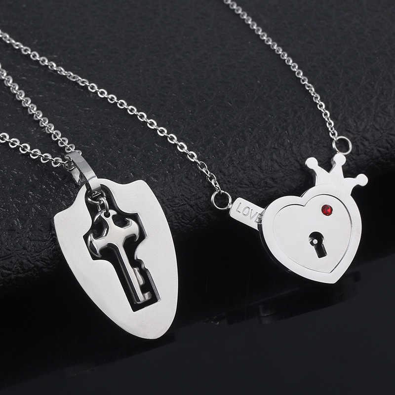 Sg casais jóias coroa amor coração bloqueio colares amante chave pingentes pulseiras de aço inoxidável presente da jóia dos namorados