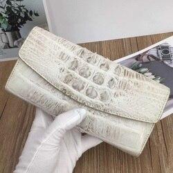 Exotische Echtes Krokodil Haut Frauen Karte Geldbörse Dame Große Weiß Trifold Brieftasche Echt Alligator Leder Weibliche Lange Kupplung Brieftasche