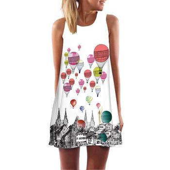 Na co dzień kobiety 3D balony nadruk w kwiaty linia bez rękawów O szyi Mini sukienka