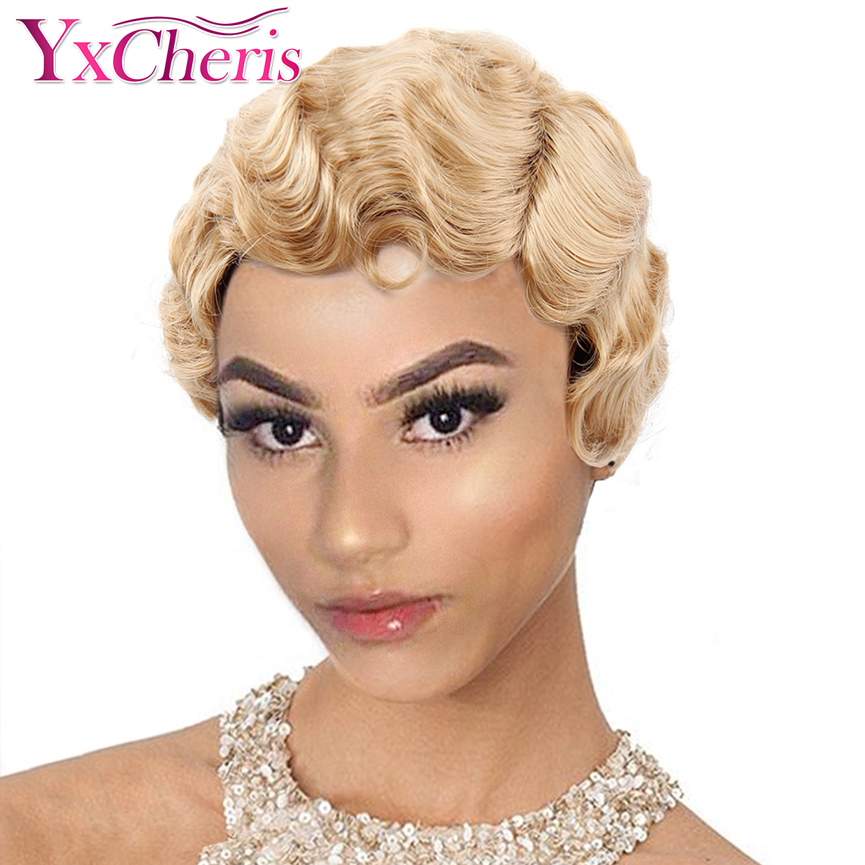 Finger Wave Wigs For Women Synthetic Short Purple Wigs Female Heat Resistant Fiber Black Brown Cosplay Wig Blonde