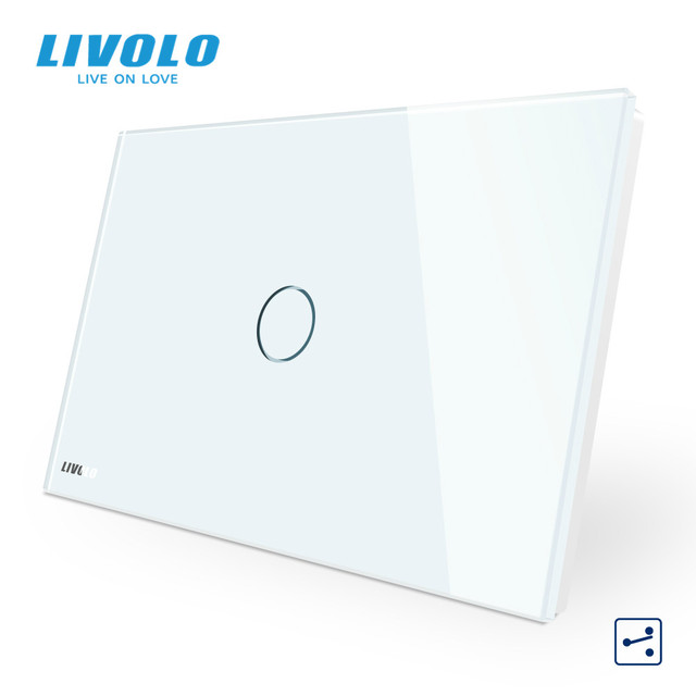 "LIVOLO ארה""ב C9 סטנדרטי מגע מסך קיר אור מתג, 2 דרכים צלב באמצעות שליטה, זכוכית קריסטל לוח, עד Donw מדרגות"