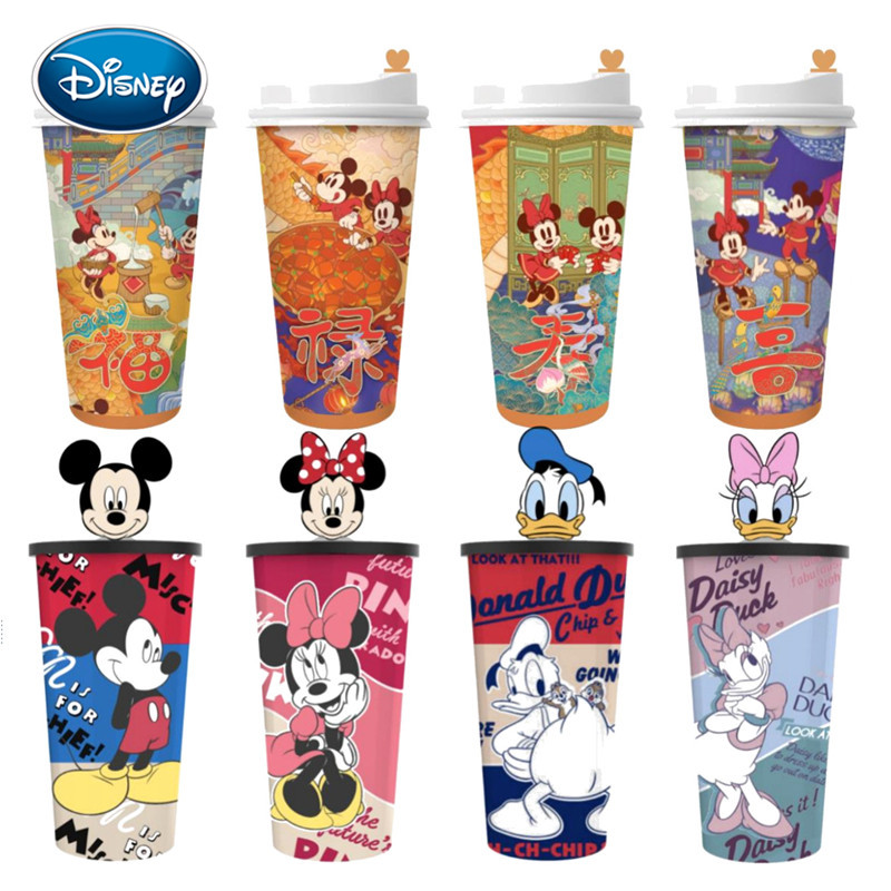 Disney Mickey Minnie Cup Coffee Cup New Year Drink Cup Shaking Cup Cartoon Printing Cola Cup Movie Peripheral Doll image