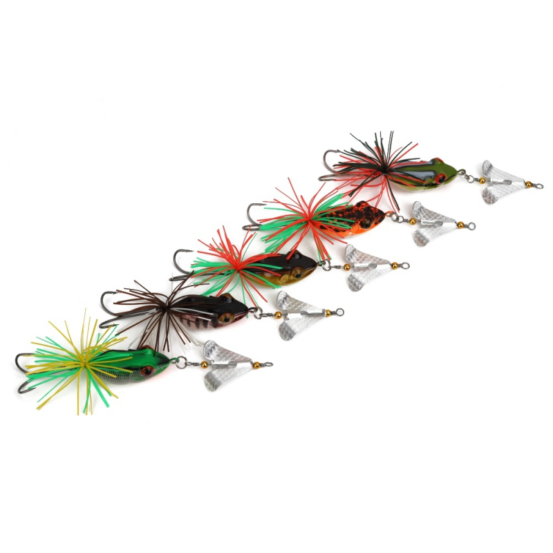 1PCS Fishing Lure With Propeller Large Noise Isca Frogs Lure  Pesca Frogs Sinking Snakehead  Fishing Bait 135mm 9g ZJ
